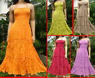 Thai Summer halter Boho beach Hawaiian solid smocked long sundress S M L XL