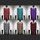 All Sizes 6 Colors Plaid Dress Vest & Necktie Set for Suit or Tuxedo $49