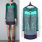 New Fashion Women Lady Green Chiffon Long Sleeve Floral Casual Dress Loose Dress