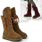 Fashion Warm Women's Lady Lace up Snow Boots Half Boot Flat Shoes Winter DZ88