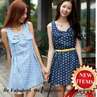Dark Blue Rachel Skater Fit Flare Sweet Polkadot Bowtie Dress S-M-L-XL-1X-2X-3X