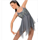 Elegant Silver Grey Contemporary Lyrical Ballet Dress Dance Costume