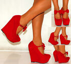 LADIES BRIGHT RED PARTY SUEDE BOW PLATFORM WEDGES WEDGED HIGH HEELS SHOES 3-8