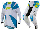 NEW 2014 ONE INDUSTRIES GAMMA MX JERSEY PANTS GEAR COMBO WHITE / CYAN ALL SIZES