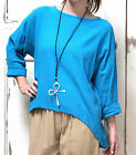 OH MY GAUZE Cotton Lagenlook  ABBY  LS Boxy Top  1 (M/L/XL)  2 (1X/2X) TURQUOISE