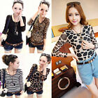 New Women Sexy Tight-fitting Long sleeve T-shirt Lady Leopard Stripe Blouse Tops