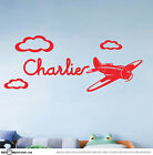 Cute Custom Name Plane Vinyl Wall Sticker for Boys Removable Art Decal Aeroplane