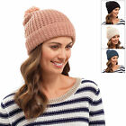 Ladies Chunky Knit Hat Pom Pom Bobble Beanie Winter Accessory Black Pink Barley