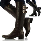 Womens Ladies Knee High Leather Style Flat Low Heel Biker Riding Buckle Boots
