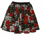 "Skull & Roses Tattoo Design Skater Skirt 15"" Roller Derby Punk Child Adult"