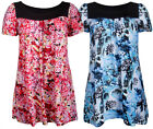Womens New Floral Print Ladies Short Sleeves Stretch T-Shirt Smock Top Plus Size