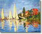 HUGE Monet Regatta at Argenteuil Stretched Canvas Giclee Art Repro ALL SIZES
