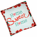 """17"""" Home Sweet Home Red Roses Fabric Scatter Cushion Cover For Home Bed Or Sofa"""