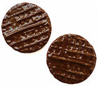 Set of 2 Chocolate digestive biscuit fridge magnets. Realistic, strong magnet.