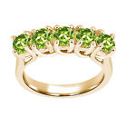 1.50 Ct Round Green VS Peridot 925 Yellow Gold Plated Silver Ring