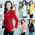 Women Fashion Zipper OL Casual Slim Waist Long Sleeve Suit Blazer Coat Tops M-XL