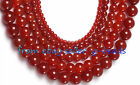 4MM 6MM 10MM 14MM 18MM ROUND RED AGATE BEADS STRAND 15""
