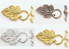 2/10Sets Silver/Golden/Copper Grape Leaf Toggle Clasp Jewelry DIY Accessories