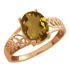 1.60 Ct Oval Champagne Quartz 925 Rose Gold Plated Silver Ring