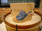 Born Dianna Blue Leather Floral Print Wedge Sandals NEW