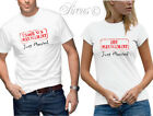 JUST MARRIED T-SHIRT SET FUNNY DESIGNER MENS WOMENS WEDDING TSHIRT