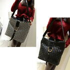 New Women PU Leather Knit Messenger Handbag Tote Shoulder Bag Black M2062