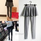 Women Cotton Blend Casual Tight Leggings Render Pants Pantskirt Culottes Trouser
