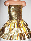 GIRLS GOLD GLITZY SEQUIN RUFFLE EVENING PROM PARTY DRESS