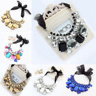 New Fashion Ribbon Rainbow Big Rhinestone crystal Collar Bib Statement Necklace