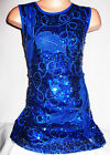 GIRLS 60s ROYAL BLUE LEAF SPIRAL EMBROIDERED SEQUIN EVENING SHIFT PARTY DRESS