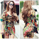 Fashion Women's  Ladies Mini Dress Long Sleeve Tunic Tops T-shirt shirt V-neck