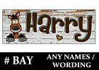 BAY HORSE PONY cartoon Personalised name Sign Plaque Stable door tack room gift