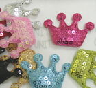 50 pcs Padded Felt CROWN w/Sequin Appliques 42mm a072 U Pick