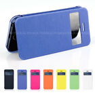 Ultra Slim Flip Case Cover with Caller ID Window for iPhone + Screen Protector