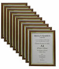 10 Pack of A4 DARK WOOD with GOLD INLAY PICTURE PHOTO CERTIFICATE FRAMES