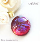 Czech Dragons Breath Mexican Glass Fire Opal Blue Red Cabochon Flatback Stone