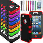 PC Shockproof Dirt Dust Proof Hard&Soft Matte Cover Case Skin For iPhone 5 5S