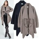 AnnaKastle Womens Wing Collar Open-Front Draped Cardigan M L Chunky Knit Sweater