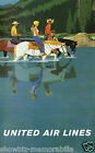 United Air Lines vintage retro print poster, large 4 sizes available, Airline122