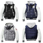 Mens Hooded Baseball Cardigan Hoodies Jacket Coat Cotton Sport NY Tracksuit Tops