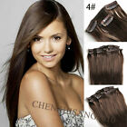 "Tengda Straight Full Head 15""-22"" 70g-120g Clip in Real Human Hair Extensions"