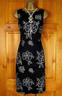NEW DEBENHAMS LADIES BLACK SILVER FLORAL TEA PARTY PENCIL OFFICE DRESS UK 8