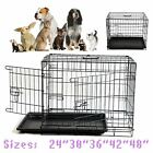 Dog Cage Puppy crates Pet folding metal foldable 24 30 36 42 48 inch with handle
