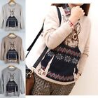 Women Animal Rabbit Print Knitted Sweater Jumper Tops Pullover Cardigan Knitwear