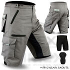 MTB Cycling Short Off Road Cycle With Liner Shorts CoolMax Padded Grey M, L, XL