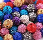 Fashion Bead 10pcs Polymer Clay Ball Crystal Rhinestone Spacer Beads 22 Colors