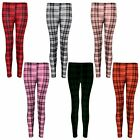 New Womens Tartan Print Full Length Leggings Ladies Check Trouser Size 8-14