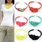 Womens Handmade Chinese knot Woven Cotton Rope Necklace Mixed Punk Fluorescent