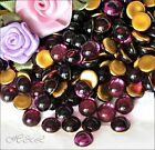 Czech Amethyst Polished Flatback Round Cabochons Glass Gold Foil 4mm 7mm 11mm