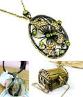 Vintage style cutout butterfly treasure chest pendant necklace multiple choices